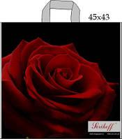 """Пакет с петлевой ручкой 45х43см. 25шт. Serikoff """"Роза премиум"""""""