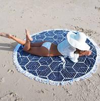 Пляжный коврик Mandala dark blue 140см