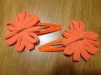 """Защёлка для волос """"тик-так"""" (клик-клак) с цветком, уп. 2 шт. (пара). Ярко-оранжевые (в реальности ярче)"""