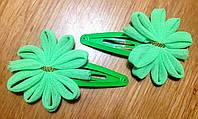 """Защёлка для волос """"тик-так"""" (клик-клак) с цветком, уп. 2 шт. (пара). Ярко-зелёные (в реальности ярче)"""