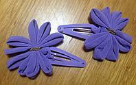 """Защёлка для волос """"тик-так"""" (клик-клак) с цветком, уп. 2 шт. (пара). Фиолетовые, фото 1"""