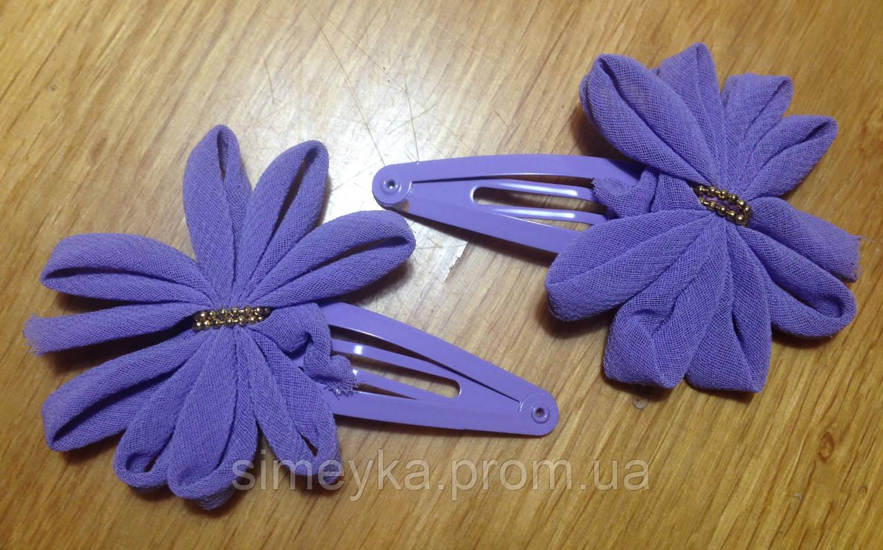 """Защёлка для волос """"тик-так"""" (клик-клак) с цветком, уп. 2 шт. (пара). Фиолетовые"""