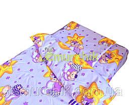 Постельный набор в детскую кроватку (3 предмета) Мишки на луне фиолетовый