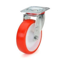 Поворотное колесо диаметром 100 мм с полиуретановым контактным слоем и с роликовым подшипником нагрузка 180 кг