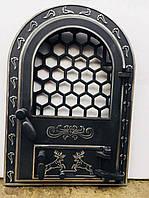 """Дверцята пічні зі склом """"Олени хром БОЛЬШИЕ"""" 595Х425. Дверцы для камина печи барбекю"""