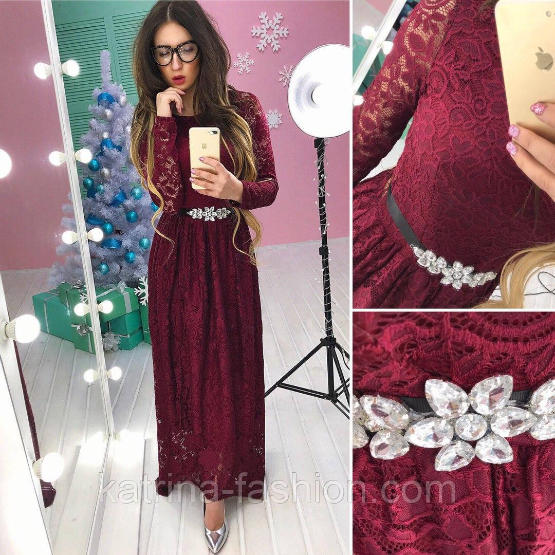 8b9b1aaaff4 Женское модное вечернее платье из кружева в пол (3 цвета)