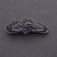 Заколка для волос Бабочка с темно синими кристаллами серебристая L-6см автомат
