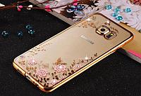 Золотой силиконовый чехол Сваровски для Samsung Galaxy S7 Edge