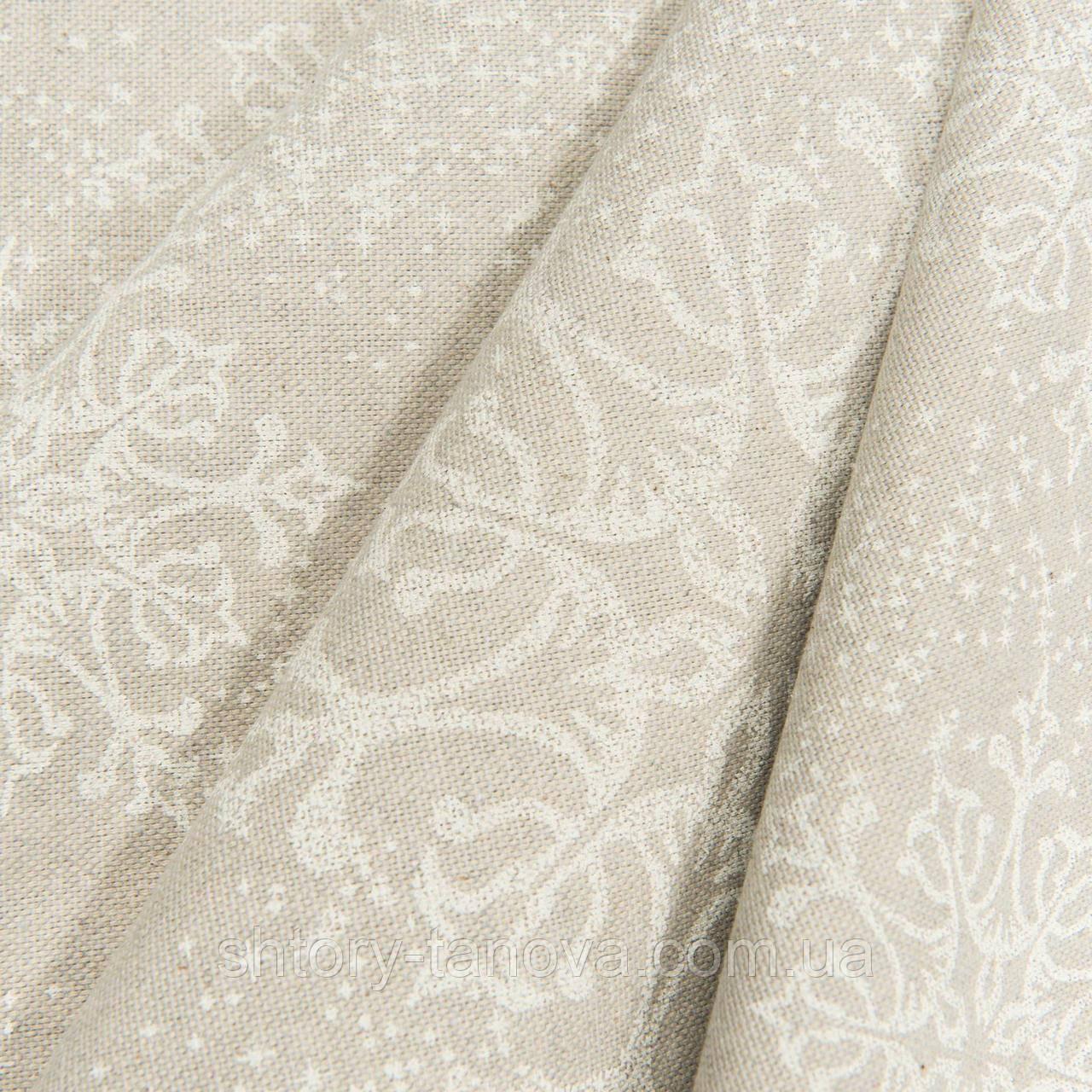 Декоративная ткань, хлопок 75%, полиэстер 25%, с новогодним принтом, снежинки