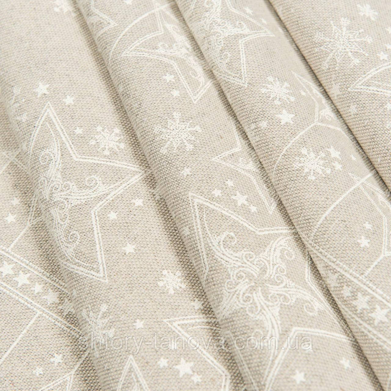 Декоративна тканина, бавовна 75%, поліестер 25%, з новорічним принтом, зірочки