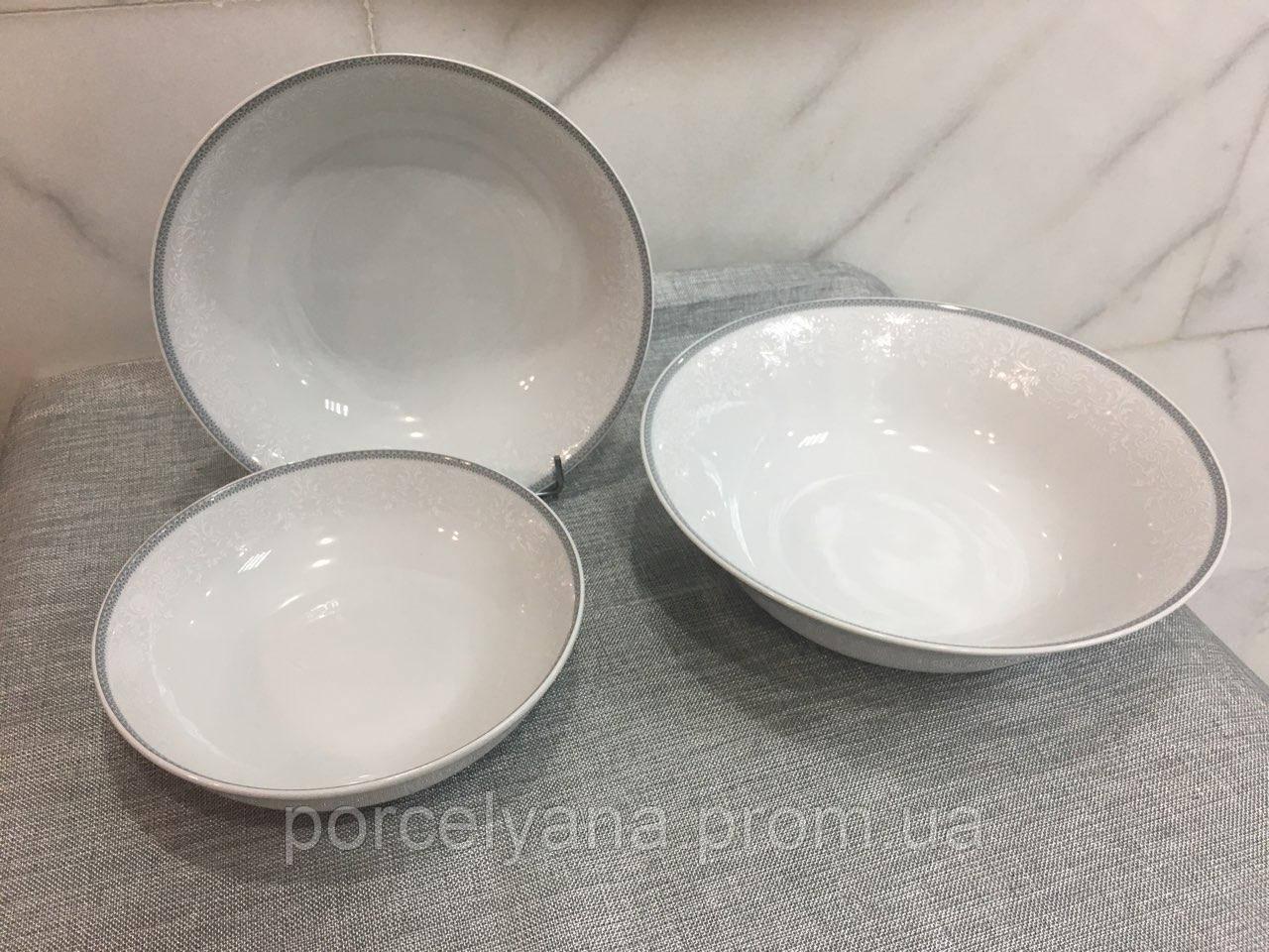 Салатник фарфоровый 23см Opal серый(Thun)