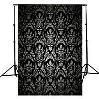 3x5FT Retro черный Damask Wall Фотография Studio Фото Background Опоры