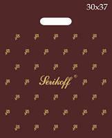 """Пакет Serikoff с прорезной ручкой 30х37см. 25шт. """"подарочный коричневый"""""""
