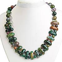 Ожерелье Яшма бусины вытянутый овал 12*25мм и  шарик  между ними, длина 50см