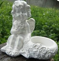 Ангел Юля подсвечник 9 см (белый)