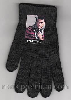 Перчатки мужские шерстяные одинарные на флисе Fashion Gloves, чёрные, длина 24 см, А-3