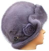 """Норковая шляпа """"Роза"""" (серо-голубая)"""