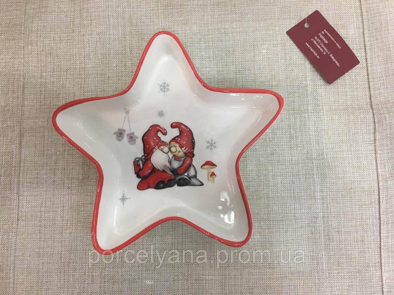 Тарелка керамическая новогодняя звезда 20 см