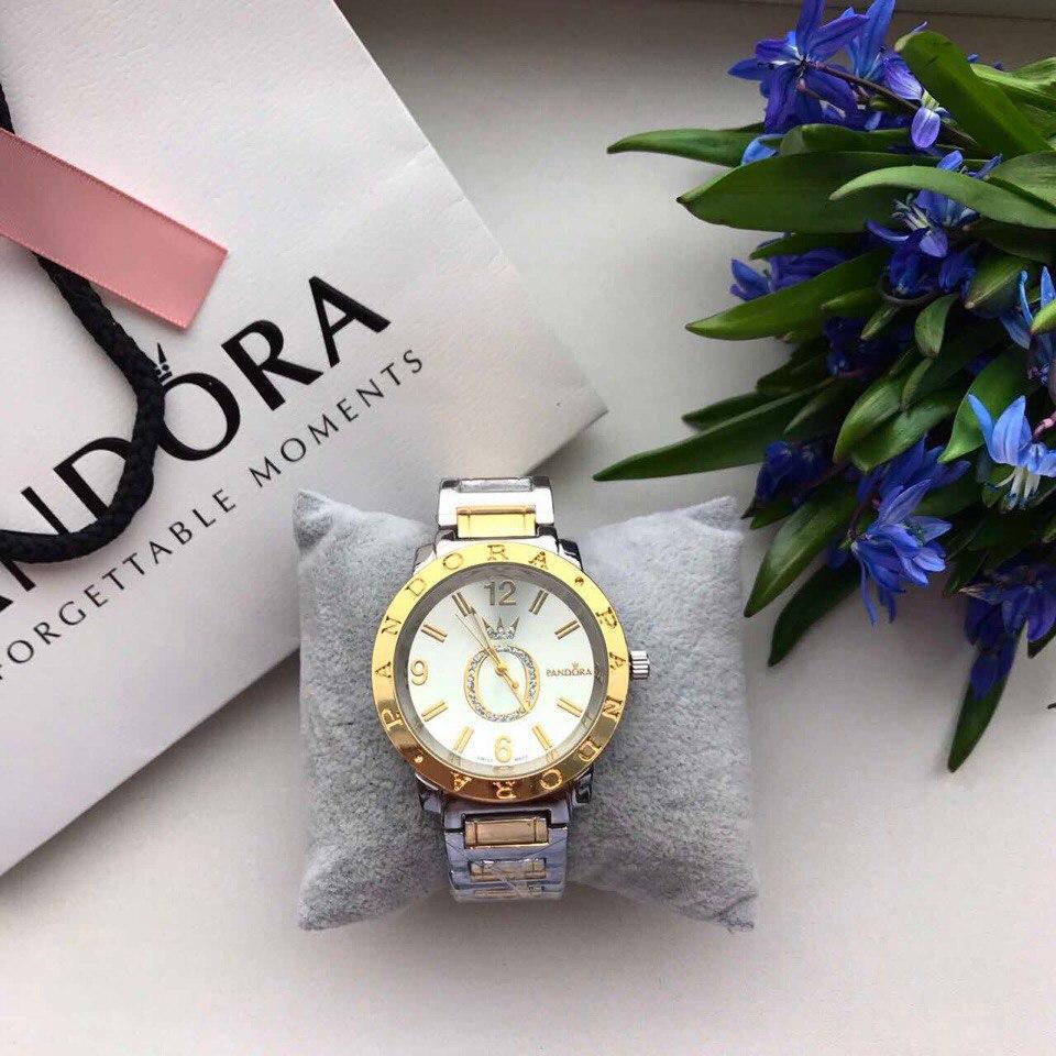 Жіночі металеві срібні годинники Pandora Silver Gold, жіночий годинник Пандора