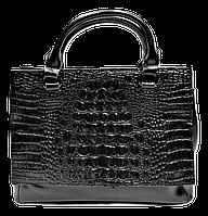 Женская сумочка из натуральной кожи рептилия черного цвета TTY-894420