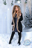 Теплое женское пальто с натуральным мехом