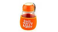 Бутылка с чехлом Don't worry,be happy,4 цвета