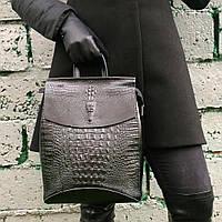 Кожаная женская сумка Рюкзак кожа , Натуральная  Рептилия трансформер