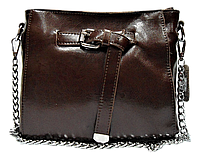 Женская сумочка с пряжкой из кожи коричневого цвета на плечо DJG-351133