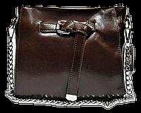 Женская сумочка с пряжкой из кожи коричневого цвета на плечо DJG-351133, фото 1