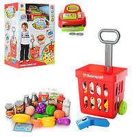 Детский игровой набор магазин, кассовый аппарат, сканер, тележка, 27 дет