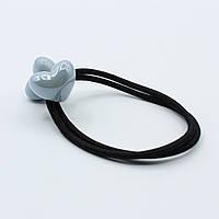 Резинка для волос двойная черная Два голубых сердца