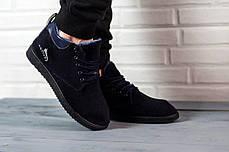 Мужские короткие ботинки на меху черные, фото 3