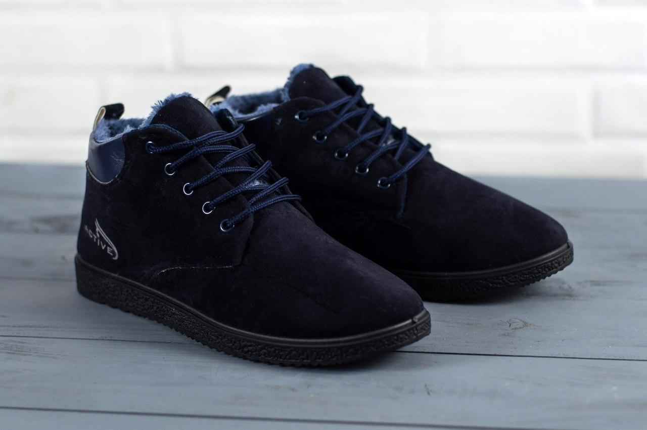 Мужские короткие ботинки на меху черные