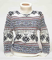 Теплый свитер женский вязаный под горло с орнаментом p.44-48 B31-17
