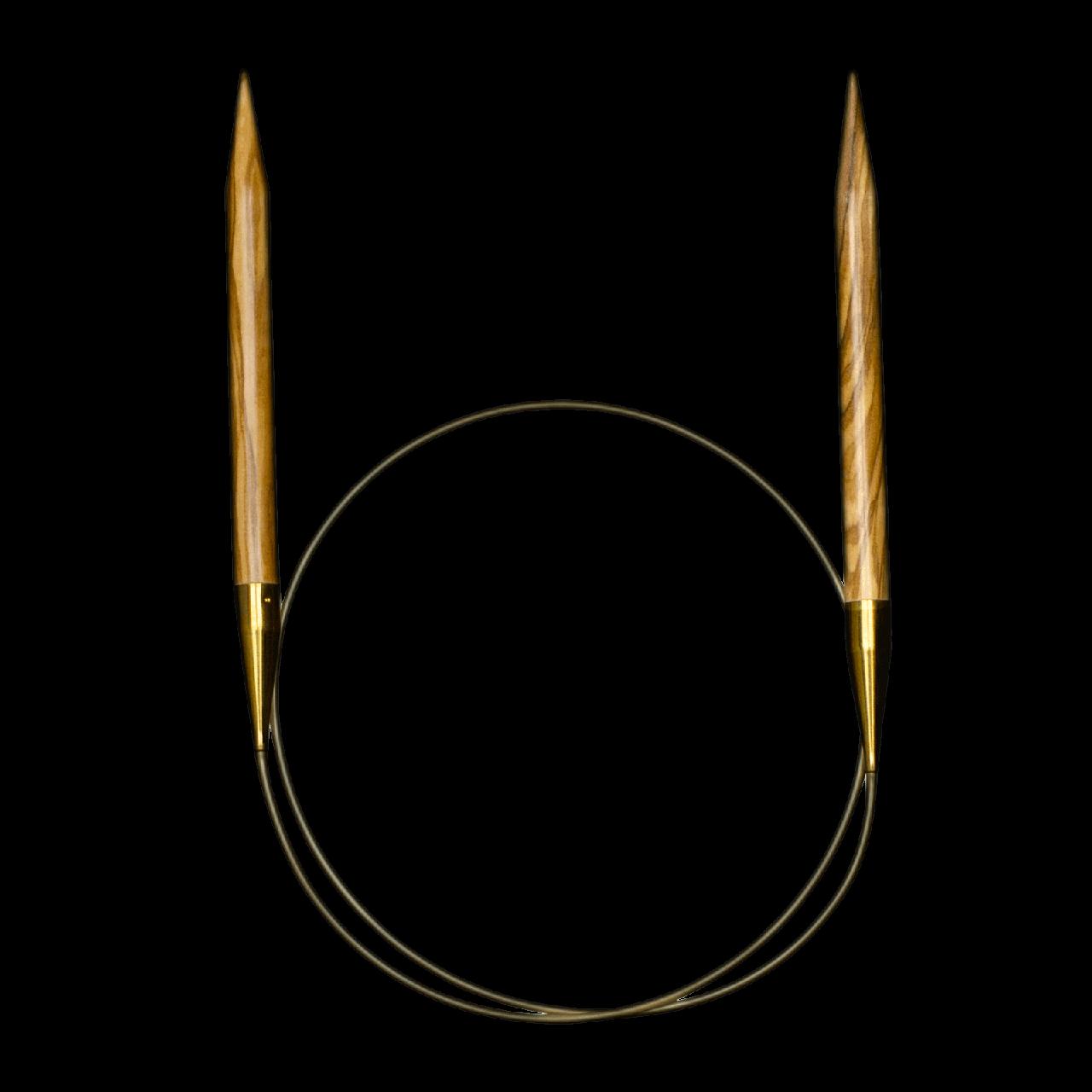 Адди 4,50 спицы из оливкового дерева на золотой леске 100 см