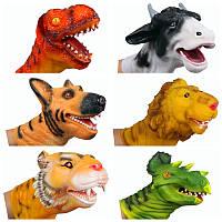 Дино Голова трицератопса Динозавры Кукольный Finger куклы резиновые перчатки ручной игрушки для малышей Обучающие подарков
