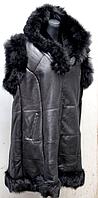 Женская натуральная жилетка с капюшоном - батал