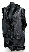 Жилетка женская теплая из натуральной кожи и овчины черная