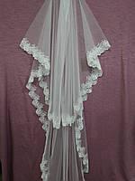 Свадебная фата белая длинная с гипюром
