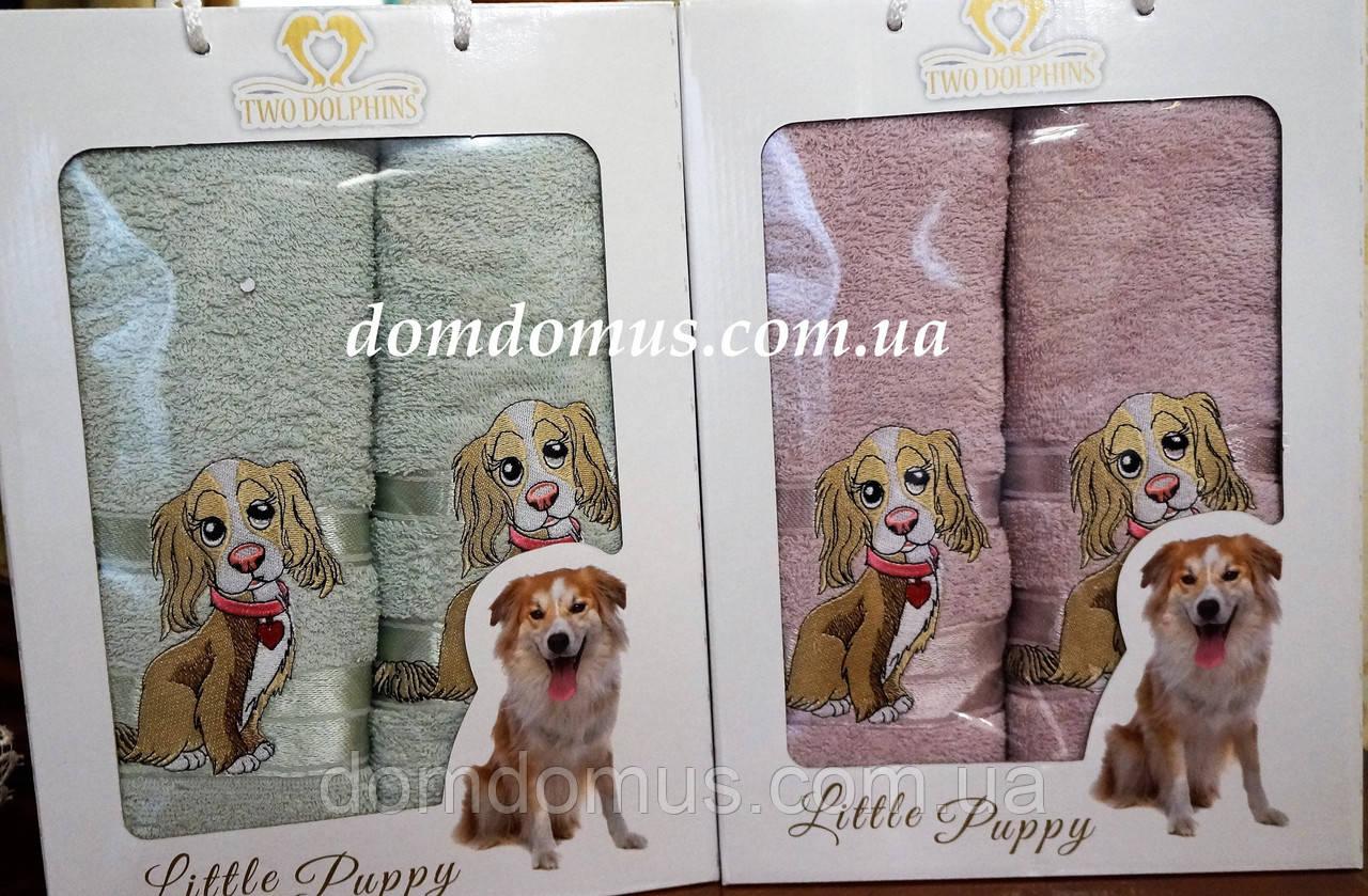 """Подарочный набор полотенец ( баня+лицо) """"Собака"""" Новый Год TWO DOLPHINS, 0144"""