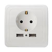 Excellway® KI09 5V 2A Двойной USB-адаптер для зарядного устройства для порта USB Штепсельные розетки для розетки Power Outlet