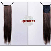 Хвост на ленте из искусственных волос, шиньон, наращивание волос, длина - 60 см, вес - 100 г, коричневый