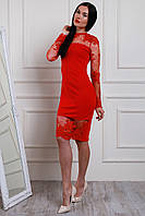 Нарядное красное женское платье  645