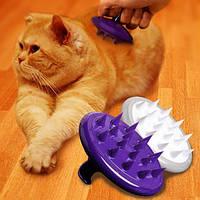Силиконовые собак Pet Массаж Уход Кисть Фиолетовый силиконовый для удаления волос Кисть