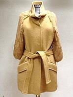 Пальто женское кашемировое укороченное Fairy Anne с меховыми рукавами, фото 1