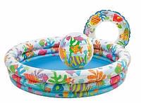 Яркий детский надувной летний удобный бассейн Intex 59469, мяч, круг, 132*28см, 220 л, виниловый