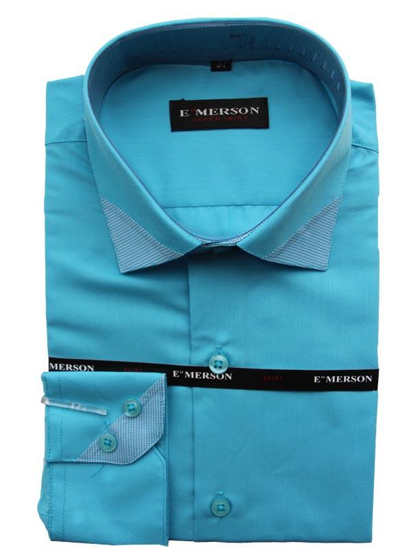 Рубашка для мальчика подростковая Emerson с  длинным рукавом бирюзовая