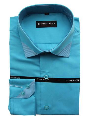 Рубашка для мальчика подростковая Emerson с  длинным рукавом бирюзовая, фото 2