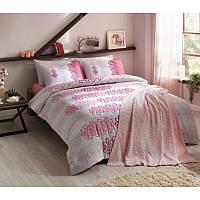 Набор постельного белья TAC евро ранфорс + плед вязанный Triko - Despina розовый
