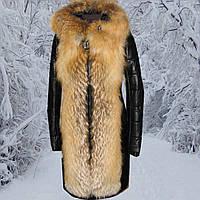 Пальто кожаное женское с рыжей лисой